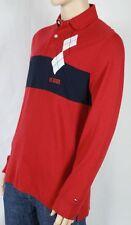 Tommy Hilfiger GRANDE L Rojo Azul Marino Blanco Polo Nuevo con Etiqueta