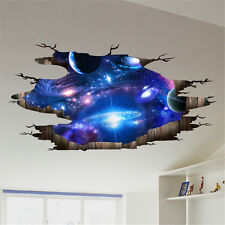 Galaxy Planet Space Wall Sticker Kids Baby Bedroom Art Vinyl 3D Wall Decal Mzx