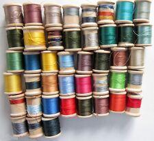 Vintage Lot 43 Thread Wooden Spools with Thread Coats & Clark