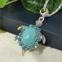 Animal Turtle Turquoise Chain Rhinestone Women Pendant Fashion Necklace Gifts