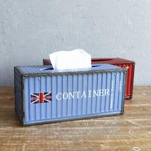 Vintage Metal Tissue Box Holder Rectangle Toilet Paper Napkin Container Case