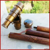 Vintage Solid Brass Handle Victorian Spy Telescope Stick Wooden Walking Cane
