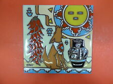 """Ceramic Art Tile 6""""x6"""" Coyote chiles pottery Native American trivet wall H24"""