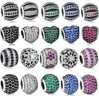Silver Brand New Pave Crystals Charm Bead Fit 3mm European 925 Sterling Bracelet