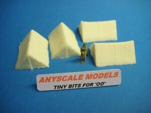 OO/4mm Model Railway scenery. Canvas type Scout tents x 4 hollow cast (0191)