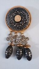 large pIn bRooch fashion costume Jewelry Free Shipping burnished goldtone gray