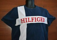 Authentic TOMMY HILFIGER T-Shirt Lrg Spellout White Stripes Mens Large Navy Blue