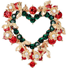 GORGEOUS RED & GREEN AURORA BOREALIS CRYSTALHEART BROOCH! NEW!