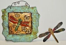 Paper and Stone Jeanne Dana Dragonfly Wall Art Sculpture plus Metal Dragonfly