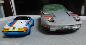 2 JOUSTRA  Porsche 928 et Ferrari, jouets à friction NO MONT BLANC , meccano CIJ