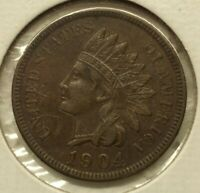 1904 P Indian Head Cent Penny - With LIBERTY & Near 4 Diamonds - VF-XF