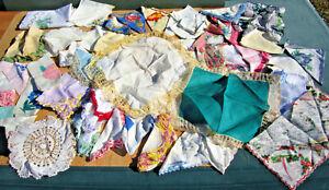 Lot of 58 Vintage Variety of Hankies HANDKERCHIEFS + 3 Embroidered Xmas Napkins