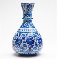 ANTIQUE MULTANI BLUE & WHITE FLORAL VASE SIGNED 19TH C.