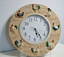 Round kirch Wall Clock 13in resin Decor Kitchen Home Rooster Chicken farmhouse