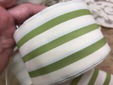 """VINTAGE STRIPED 2 1/2"""" FRENCH RIBBON WIRE GROSGRAIN 1yd France GREEN & CREAM"""