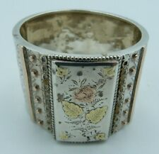 Victorian Silver & Rose & Yellow Gold Napkin Ring - Bracelet Flowers Bangle 1/2