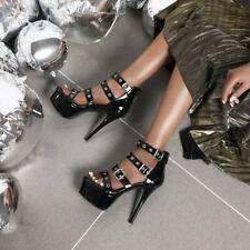 Women's Sexy Platform High Heels Stilettos Buckle Sandals Party Shoes Plus Size