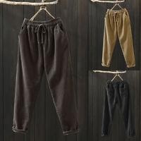 UK Women Elastic Waist Corduroy Pockets Casual Loose Harem Pants Trousers Plus