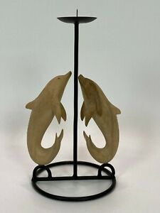 Candle Stand Dolphin Table Decor Wood Carving Handmade Ornamental Gift Display