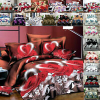 Luxury 3D Effect Duvet Set Double King Bedding Sets Quilt Covers & Fitted Sheet