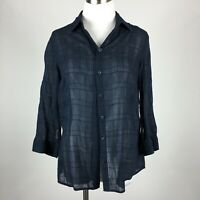 Coldwater Creek S Small Blouse Navy Blue Button Up 3/4 Sleeve Sheer Textured