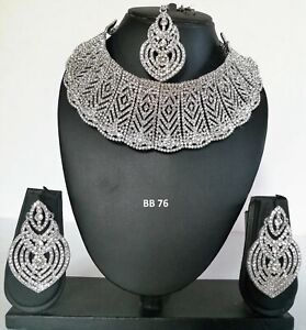 Indian Fashion CZ Silver Finish Jewelry Wedding Necklace Tikka Earrings Sets 76