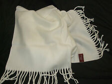 WHITE ACRYLIC SCARF, GREAT FOR WARMTH, TASSLE ENDS