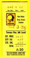 10/3/76 TONY ARMAS CAREER HITS #1/2 TICKET STUB-PIRATES/CARDINALS