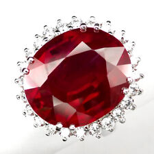 RUBY BLOOD RED OVAL 22.10 CT.SAPPHIRE 925 STERLING SILVER RING SIZE 7 GIFT WOMEN