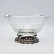 Vintage 2 Part Glass Dish w/ Sterling Silver Mounts & Etchings - Dish Vide Poche