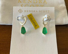 Earrings Gold Jade Green Illusion Nwt Kendra Scott Clove Huggie Hoop