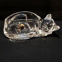 Cristal D'Arques 24% Lead Crystal Cat Candy Dish