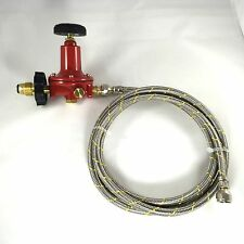 Adjustable 0 to 100psi Propane Regulator Soft POL 2ft SS Braided Hose LP Gas