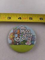 Vintage 80's WE MISS YOU Animals Bunny Panda pin button pinback boho hippy *ee4
