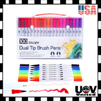 12 - 100pcs Lot Watercolor Brush Marker Pens Dual Tips Soft Fine Art Drawing Pen
