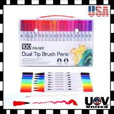 12 - 100pcs Lot Watercolor Brush Marker Pens Dual Tips Soft Fine Art Drawing Pen