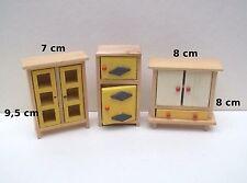 lot 3 meubles en bois miniature,maison de poupée,vitrine, meuble vintage  *B7