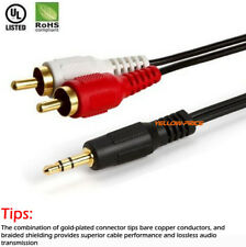 6ft 12ft Y 3.5mm Male Plug to Dual 2 RCA Jack Cable Stereo PC Audio Splitter Lot