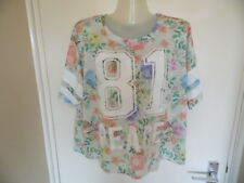 Ladies Multi coloured floral short sleeve 81 Peace top size 16