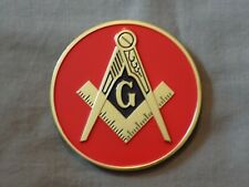 "Masonic 3""  Red Car Emblem Master Mason Square Compass Metal Freemason NEW!"