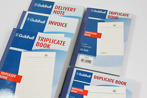 GUILDHALL DUPLICATE OR TRIPLICATE INVOICE, DELIVERY NOTE, RULED CARBONLESS BOOKS