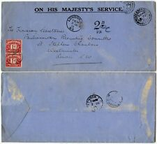 GB POSTAGE DUE 1915 OFFICIAL OHMS MIDDLESBROUGH to PARLIAMENTARY RECRUITING SW