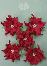 GARDENIA Flowers & Leaves RED Mulberry Paper 5 Pk 50-55mm across Green Tara A