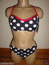 New Jag Women's 2 Piece Swimsuit Polka Dot Rev UW Top/Bottom Black/Red/White L