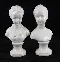Vintage 1960s Porcelain Boy & Girl Head & Bust Statues Bookends Figurines Signed