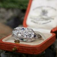 Vintage Art Retro Engagement Antique Ring 2.33 Ct Diamond 14K White Gold Over