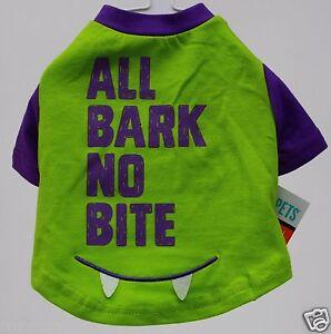 Halloween Martha Stewart Green Purple All Bark No Bite Pet Dog Shirt XSmall NWT
