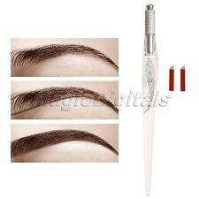 Embroidery Eyebrow Microblading Pen with 10Pcs Tattoo Bevel Blades 14 Needles