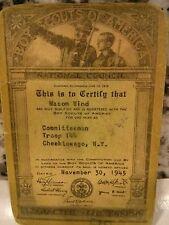 Vintage Nov 30,1945 Membership Card Boy Scouts Committeeman Cheektowaga, N.Y.