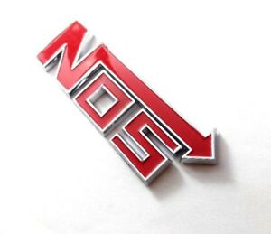 Nitrous NOS Red & Chrome Letters Emblem Badge Rear Boot Trunk Sticker Tuning HQ